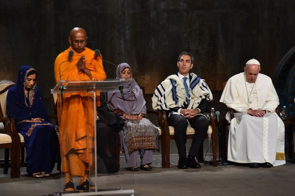 Pope Francis attends a multi-religious service for the victims of 9/11 at the memorial in New York.
