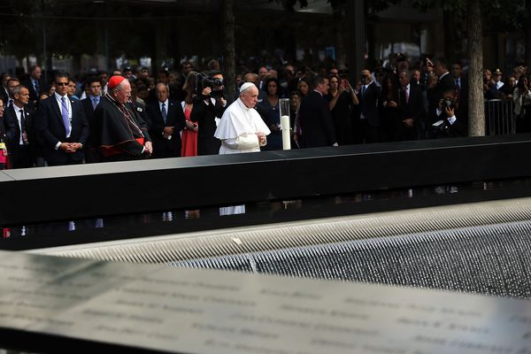 NEW YORK, NY - SEPTEMBER 25: Pope Francis pauses during a visit to Ground Zero on September 25, 2015 in New York City.