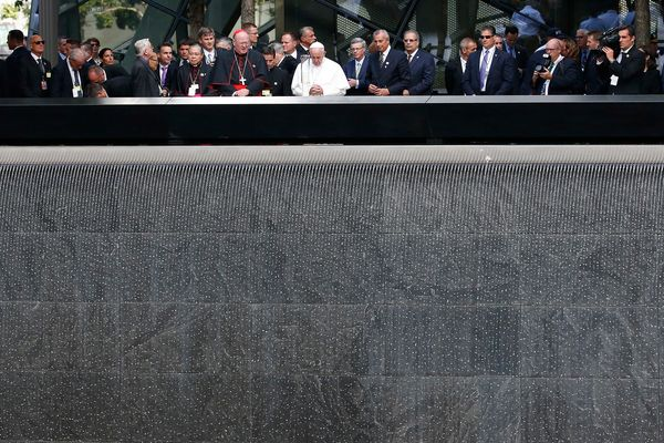 NEW YORK, NY - SEPTEMBER 25: Pope Francis prays at the edge of the South Pool at the World Trade Center on September 25, 2015