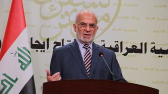 BAGHDAD, IRAQ - APRIL 03: Iraqi Foreign Affairs Minister Ibrahim al-Jaafari delivers a speech on the developments in the region during a press conference held at the Foreign Ministry office in Baghdad, Iraq on April 3, 2015. (Photo by Haydar Hadi/Anadolu Agency/Getty Images)