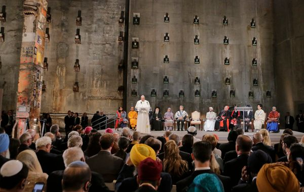 Pope Francis speaks during a ceremony inside the 9/11 Memorial and Museum on September 25, 2015 in New York City.