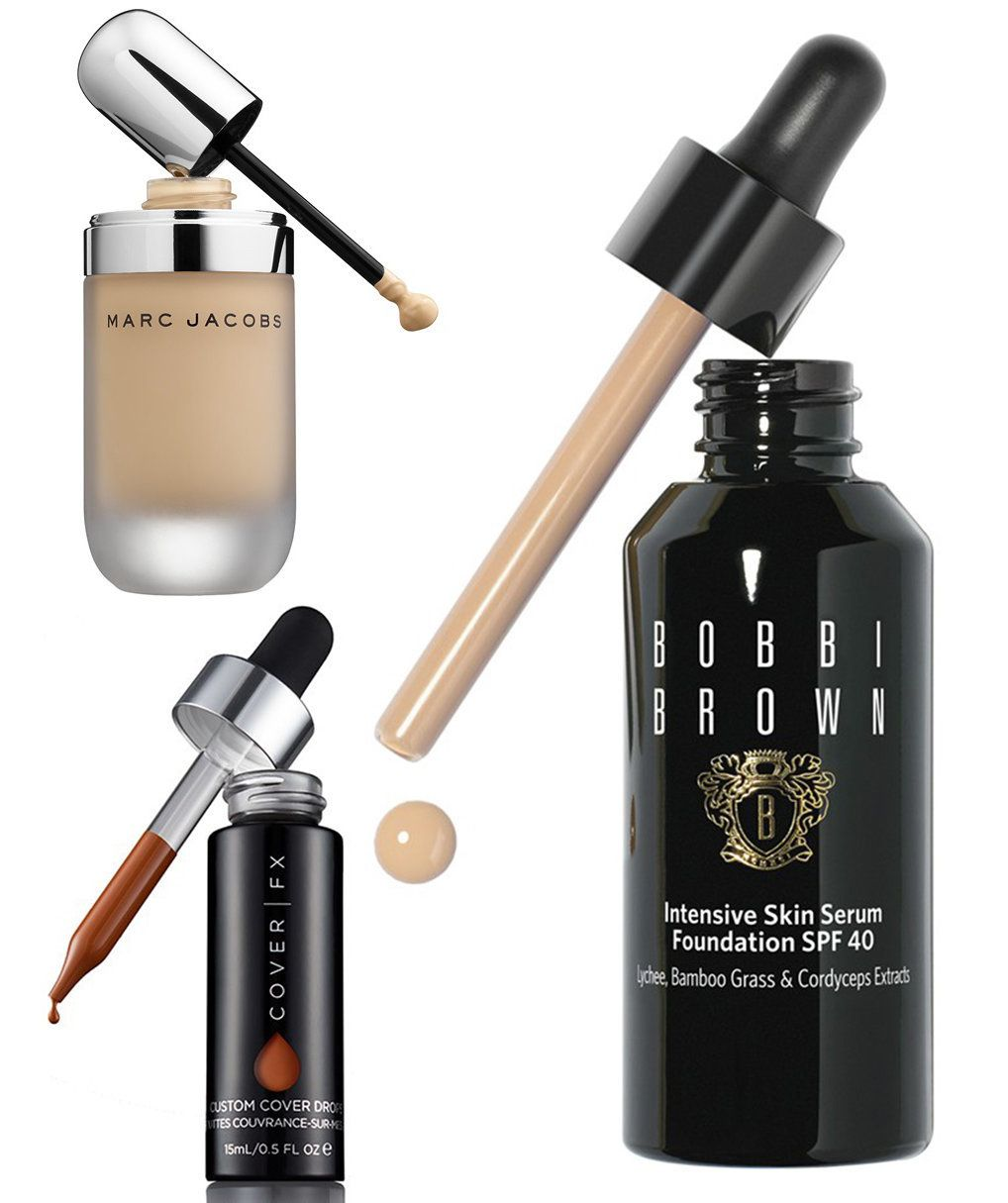 Foundation drops by Marc Jacobs, Cover FX and Bobbi Brown Cosmetics.