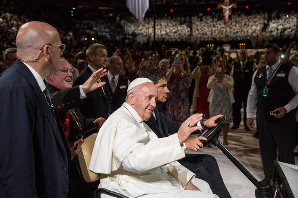 Pope Francis arrives to celebrate Mass at Madison Square Garden on September 25, 2015 in New York City.