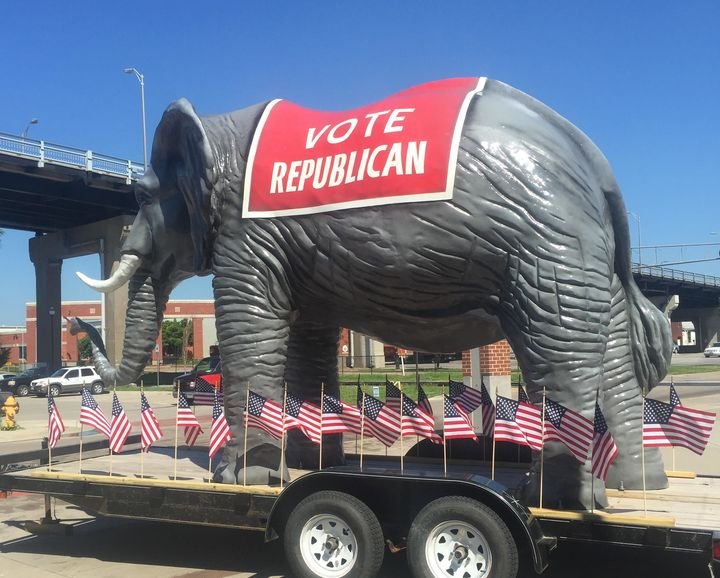 A large elephant greeted Iowa supporters of GOP presidential candidate Scott Walker in July 2015.