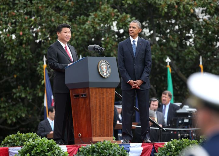 WASHINGTON D.C., Sept. 25, 2015-- Chinese President Xi Jinping, left, addresses a welcome ceremony held by U.S. President Bar