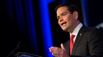 Senator Marco Rubio, a Republican from Florida and 2016 presidential candidate, speaks during the Values Voter Summit in Washington, D.C., U.S., on Friday, Sept. 25, 2015. Attendees at the summit burst into applause and a lengthy standing ovation when Rubio announced that House Speaker John Boehner planned to resign from Congress at the end of October. Photographer: Drew Angerer/Bloomberg via Getty Images