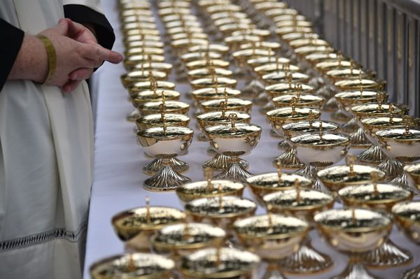 Chalices for communion are set during a mass celebrated by Pope Francis at Benjamin Franklin Parkway in Philadelphia, Pennsyl