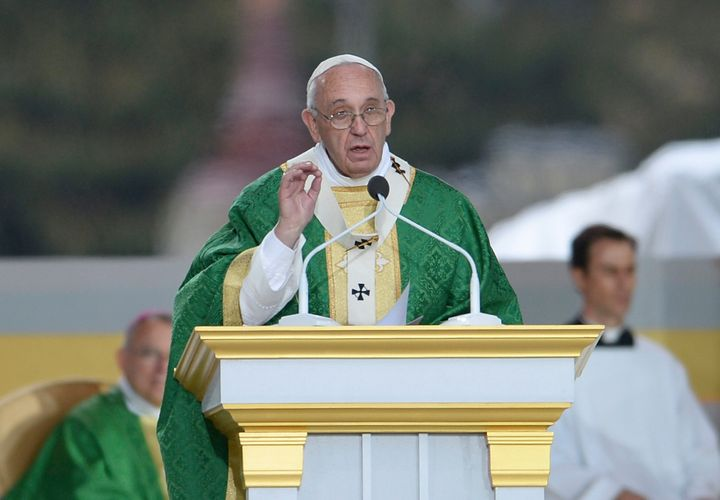 Pope Francis delivers the homily as he celebrates mass at the World Meeting of Families at Benjamin Franklin Parkway iSeptemb