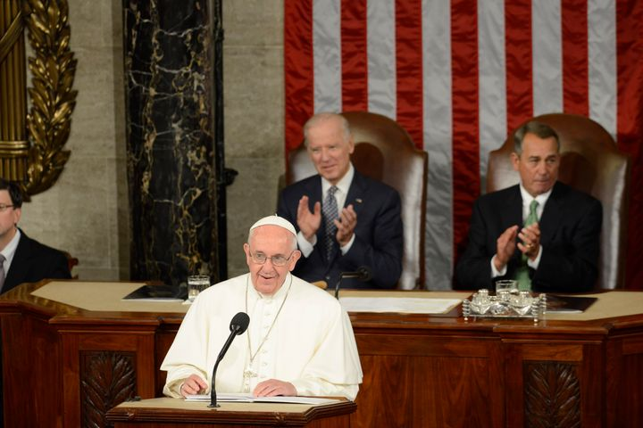 Pope Francis speaks to a joint meeting of Congress in the House chamber on Capitol Hill on Thursday, Sept. 24, 2015.