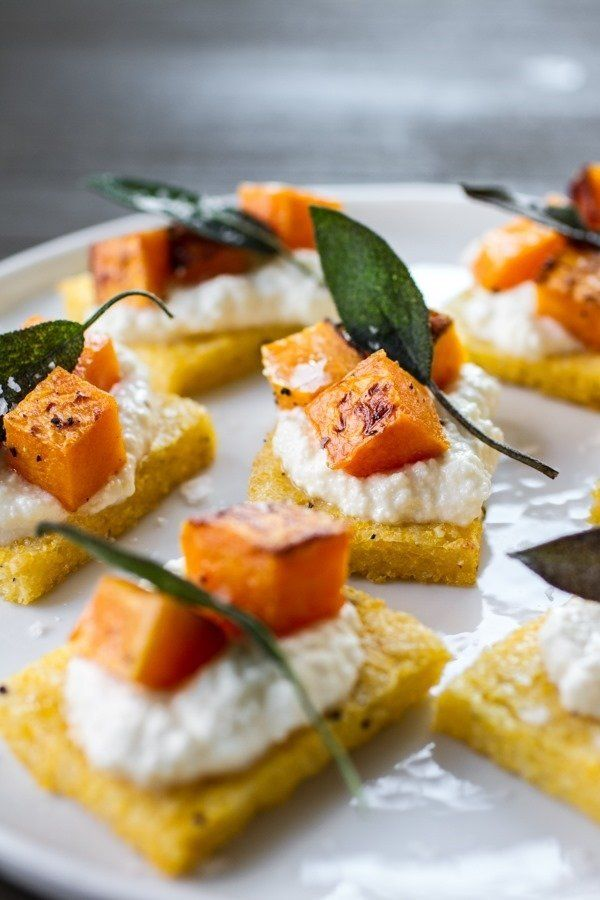 """<strong>Get the <a href=""""http://www.edibleperspective.com/home/2014/11/7/polenta-crostini-with-butternut-squash-ricotta-sage."""