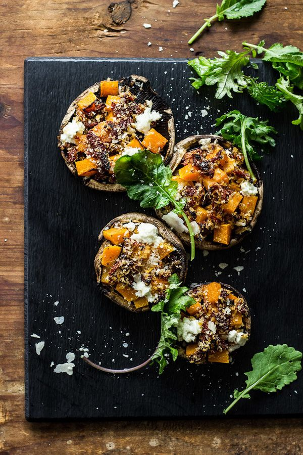 """<strong>Get the <a href=""""http://www.theclevercarrot.com/2014/10/butternut-squash-stuffed-mushrooms-with-goat-cheese-balsamic-"""