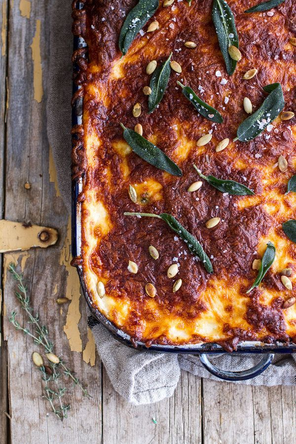 "<strong>Get the <a href=""http://www.halfbakedharvest.com/simple-caramelized-butternut-squash-kale-florentine-lasagna/"" target"