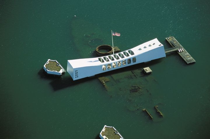 Pearl Harbor, aerial over the Arizona Memorial.