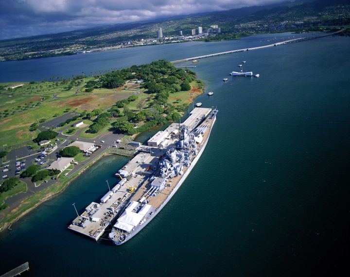Pearl Harbor: USS Missouri foreground, USS Arizona Memorial background.
