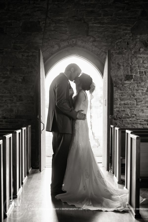 """""""Julianne and Chris were married in the historic Christ Church at the Quarry in Gambier, Ohio."""" - Rebecca Cook"""