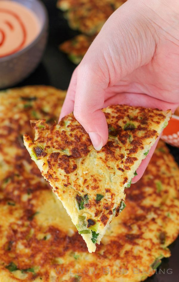 "<strong>Get the <a href=""http://willowbirdbaking.com/2015/01/28/paleo-scallion-pancake/"" target=""_blank"">Cauliflower Scallion"