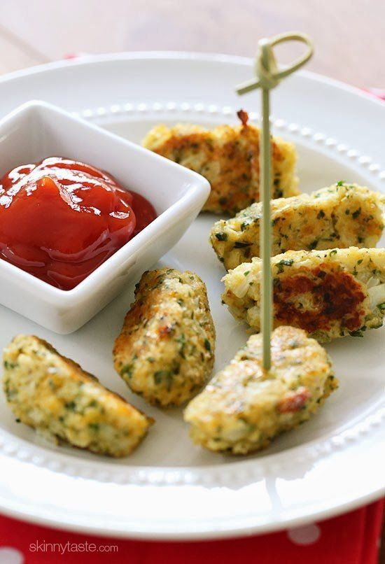"<strong>Get the <a href=""http://www.skinnytaste.com/2013/11/cauliflower-tots.html"" target=""_blank"">Cauliflower Tots recipe</a"