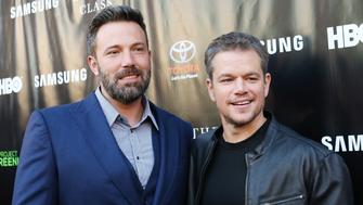 LOS ANGELES, CA - AUGUST 10:  Ben Affleck (L) and Matt Damon arrive at HBO presents The Project Greenlight season 4 winning film 'The Leisure Class' held at The Theatre - The Ace Hotel on August 10, 2015 in Los Angeles, California.  (Photo by Michael Tran/FilmMagic)
