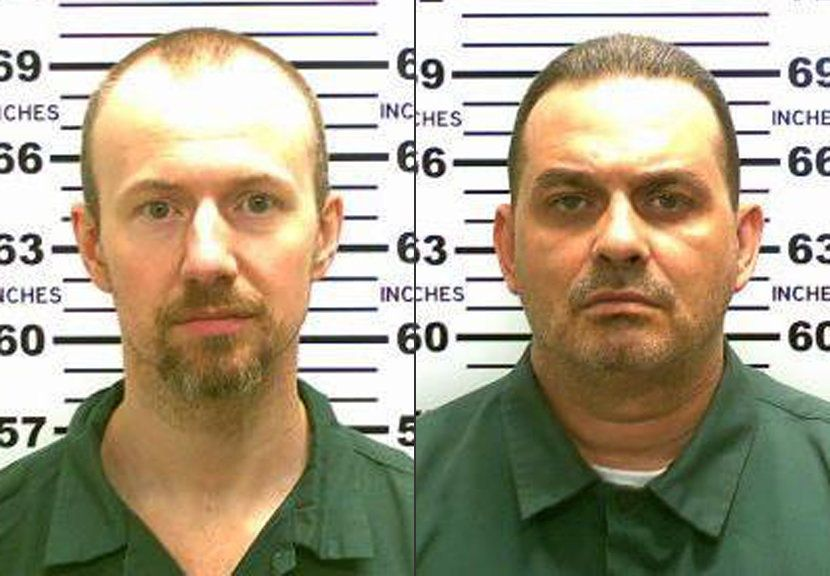 This combination made from photos released by the New York State Police shows inmates David Sweat, left, and Richard Matt. Au