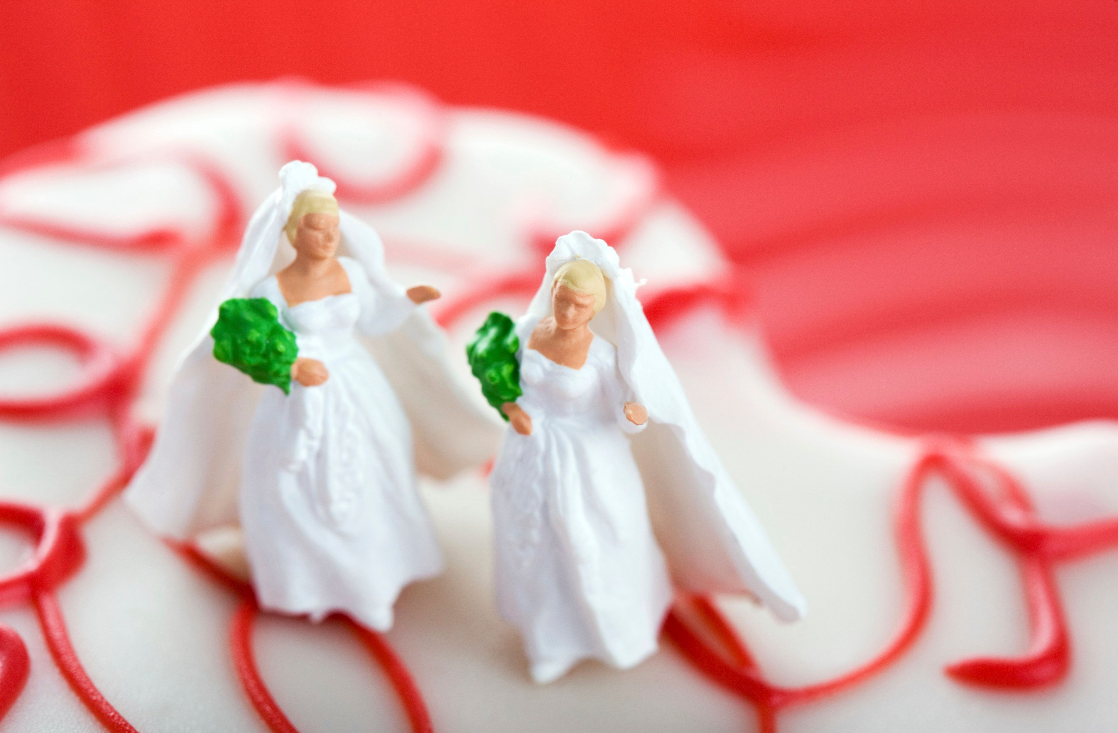Tiny wedding figures atop a small heart-shaped pastry. These figures are extremely small, about half an inch tall. Very conceptual; Extremely shallow depth of field, focus on right bride.