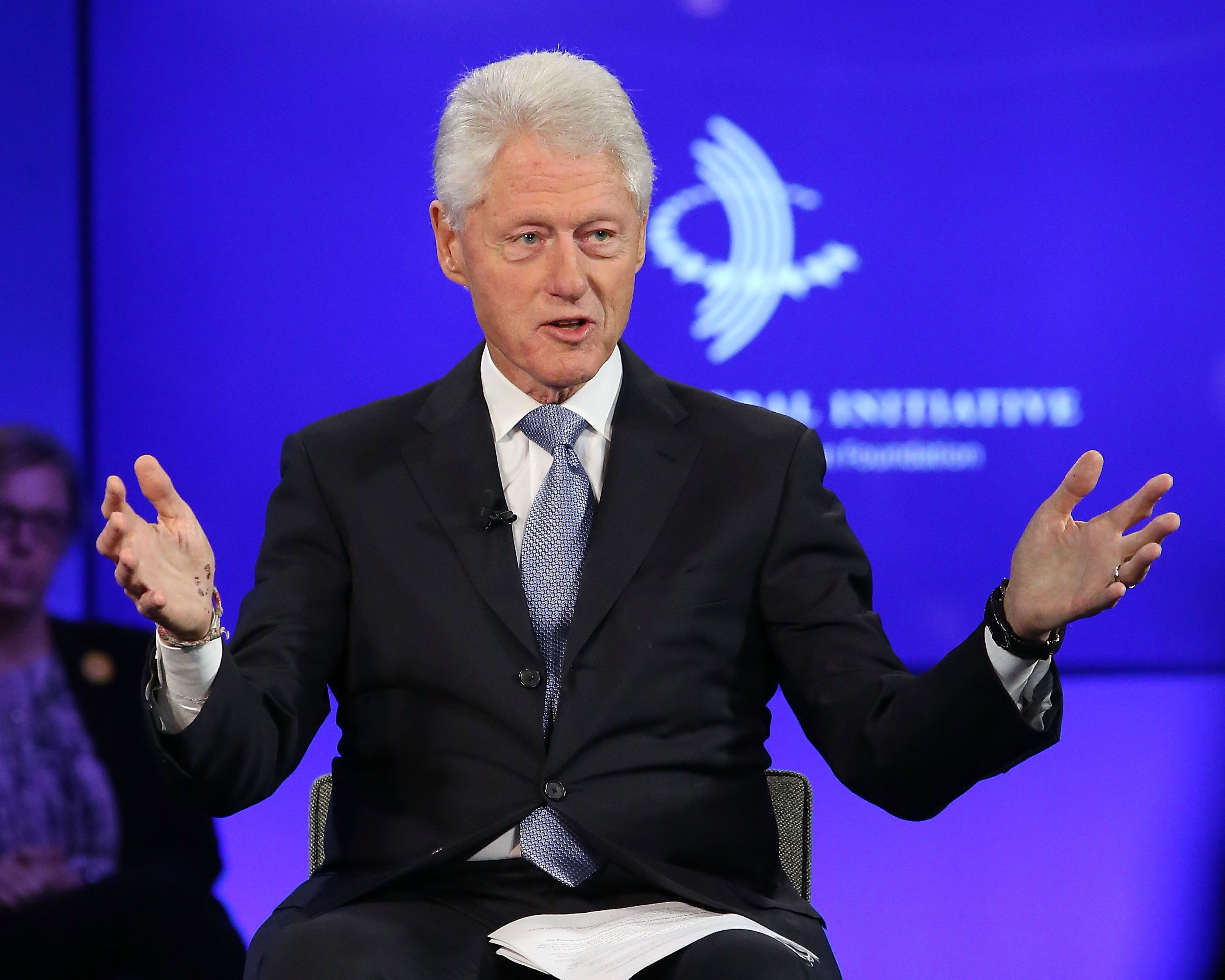 NEW YORK, NY - SEPTEMBER 27:  President Bill Clinton speaks during the 2015 Clinton Global Initiative Annual Meeting at Sheraton Times Square on September 27, 2015 in New York City.  (Photo by Taylor Hill/FilmMagic)