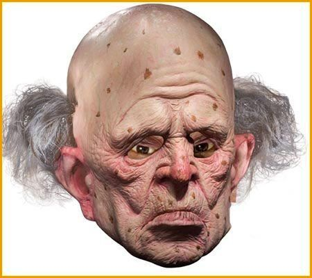 "<a href=""http://www.halloweencostumes4u.com/prods/az68181.html#.VglphnDF9wQ"">This mask with a few tufts of gray hair</a>&nbsp"