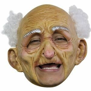 "Tell those whipper snappers a thing or two in this <a href=""http://www.thecostumer.com/p-24431-chinless-old-man-mask.aspx?gcl"