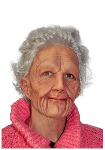 "You can age 50 years in an instant by putting on <a href=""http://www.halloweencostumes.com/old-woman-mask.html"">this rea"
