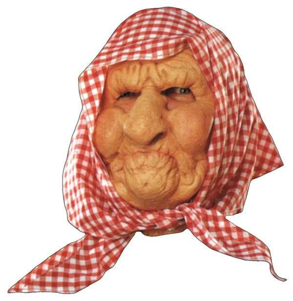 "Big nose, big cheeks, big chin. T<a href=""http://store.okcastle.com/oldladywithscarfmask.aspx"">his rubber face mask </a>comes"