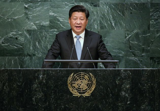 Chinese President Xi Jinping addresses the UN General Assembly on September 28,