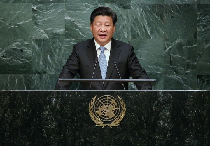 Chinese President Xi Jinping addresses the UN General Assembly on September 28, 2015.