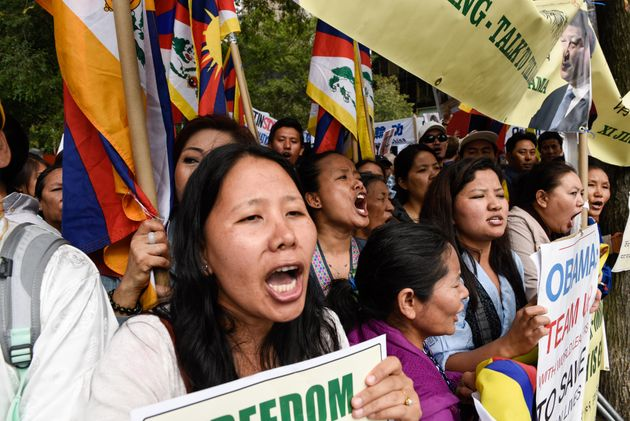 Protesters call for freedom of speech in Tibet outside United Nations Headquarters in New York...