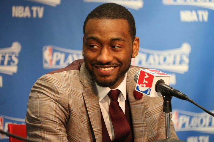 John Wall #2 of the Washington Wizards speaks to the media after the game against the Atlanta Hawks in Game Six of the Easter