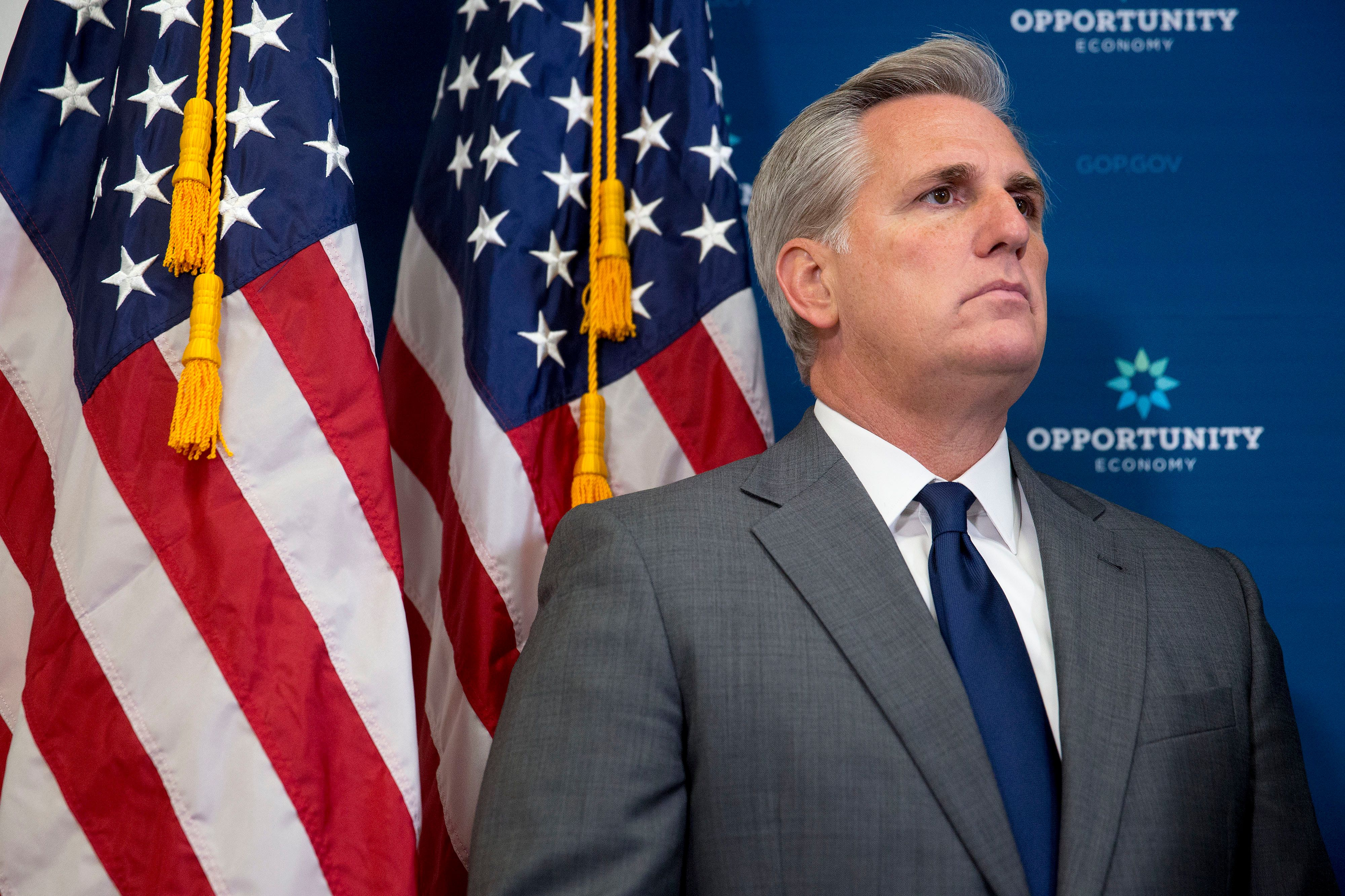 House Majority Leader Kevin McCarthy, a Republican from California, listens during a news conference after a House Republican Conference meeting at the U.S. Capitol in Washington, D.C., U.S., Tuesday, July 28, 2015. The U.S. House plans to vote on a three-month highway funding bill Wednesday and leave for a summer break without considering a longer-term measure now before the Senate, Speaker John Boehner said. Photographer: Andrew Harrer/Bloomberg via Getty Images