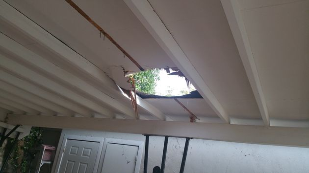 "<span class='image-component__caption' itemprop=""caption"">This photo provided by Nogales Police shows the hole in the roof caused by a falling package that contained 26 lbs of marijuana on Sept. 8, 2015</span>"