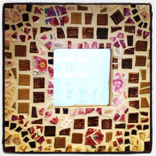 """""""One of my friends is very crafty. For my engagement, she presented me with a mosaic mirror she had made with my wedding date"""