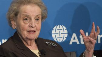 Former US Secretary of State Madeleine Albright speaks during the launch of the Middle East Strategy Task Force at the Atlantic Council in Washington, DC, June 4, 2015. AFP PHOTO / SAUL LOEB        (Photo credit should read SAUL LOEB/AFP/Getty Images)