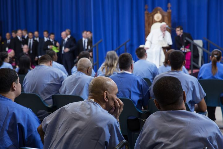 Pope Francis spoke at the Curran-Fromhold Correctional Facility on Sunday.
