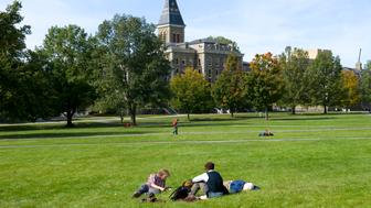 Students on Art Quad Lawn, Cornell University, Ithaca, New York