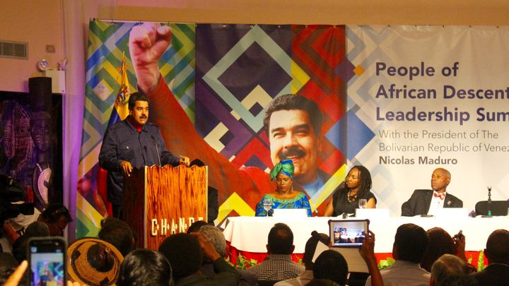 """Venezuelan President Nicolás Maduro spoke on Sept. 28, 2015, at the Harlem National Theatre, urging the audience to """"r"""
