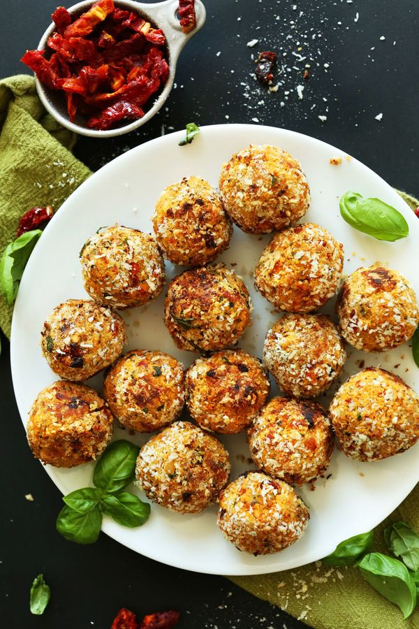 "<strong>Get the <a href=""http://minimalistbaker.com/vegan-sun-dried-tomato-basil-meatballs/"" target=""_blank"">Sun-Dried Tomato"