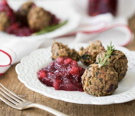 """<strong>Get the <a href=""""http://ohsheglows.com/2013/11/13/lentil-mushroom-walnut-balls-with-cranberry-pear-sauce/"""" target=""""_b"""