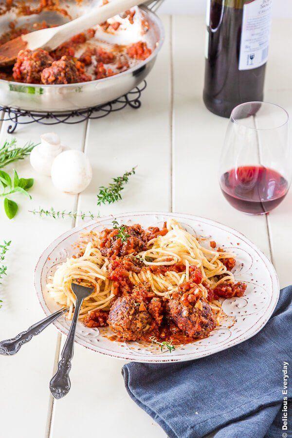 "<strong>Get the <a href=""http://www.deliciouseveryday.com/spaghetti-mushroom-quinoa-vegetarian-meatballs-recipe/"" target=""_bl"
