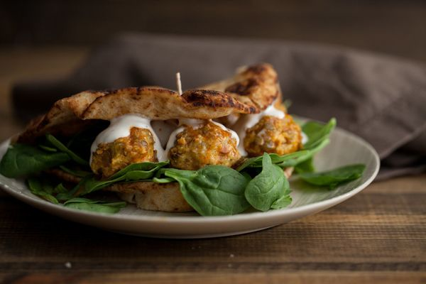 "<strong>Get the <a href=""http://naturallyella.com/buffalo-lentil-meatball-sandwich/"" target=""_blank"">Buffalo Lentil Meatball"