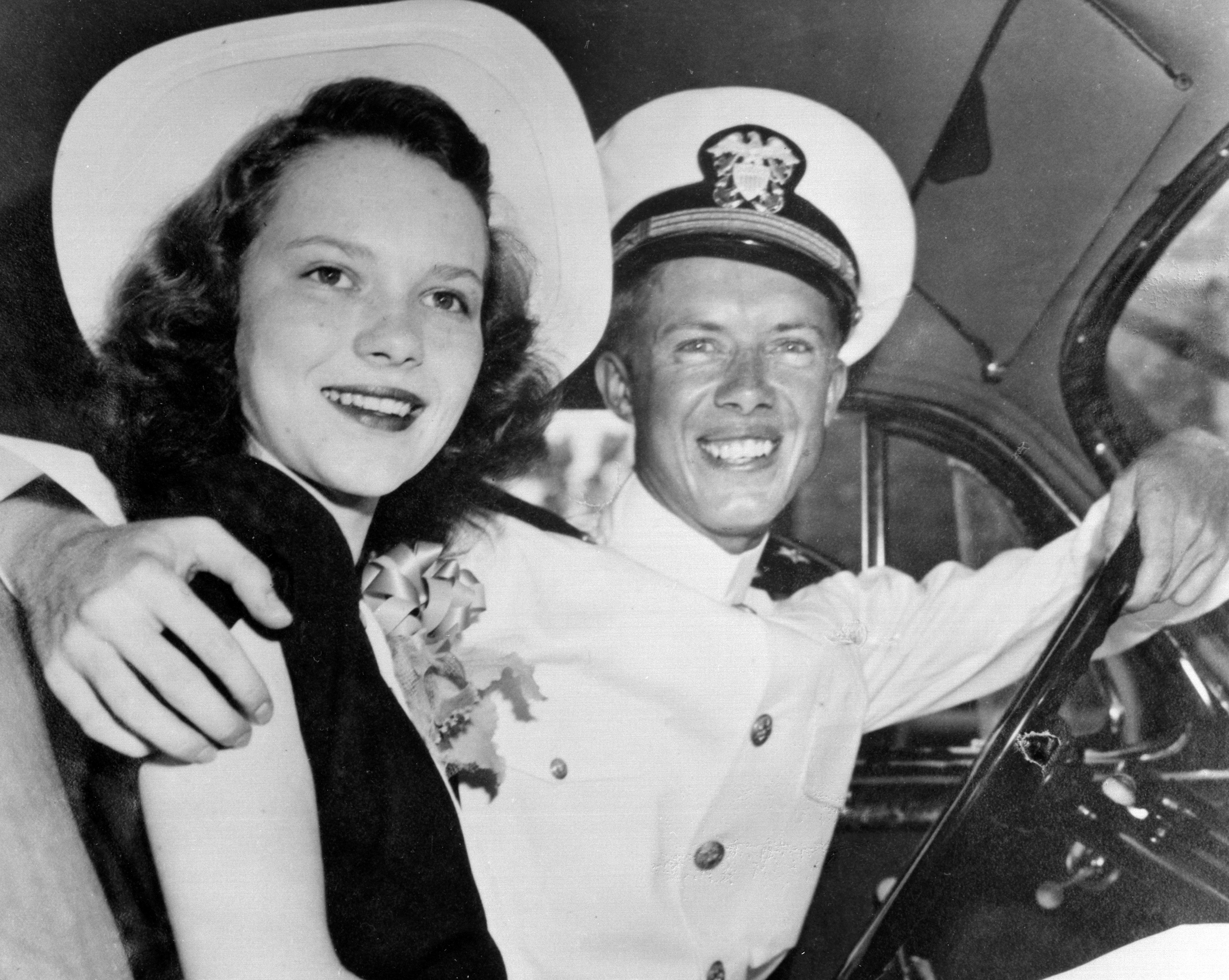 Jimmy and Rosalynn Carter on their wedding day in 1946.