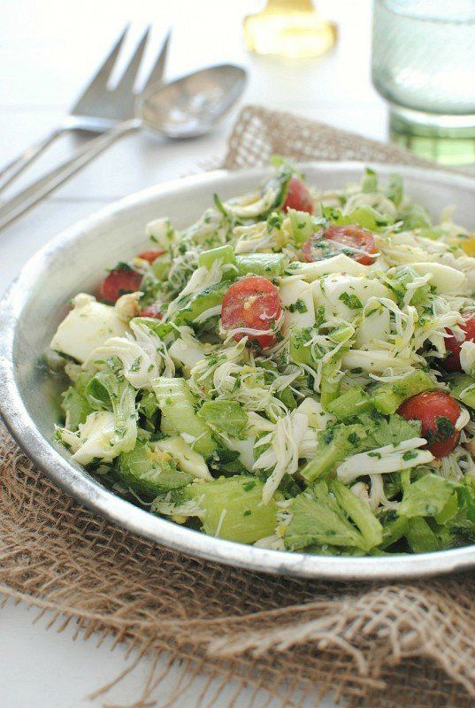 "<strong>Get the <a href=""http://bevcooks.com/2013/03/crab-salad-with-celery/"" target=""_blank"">Crab Salad With Celery recipe</"