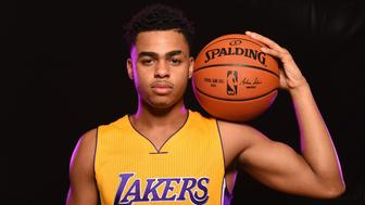 TARRYTOWN, NY - AUGUST 8: D'Angelo Russell #1 of the Los Angeles Lakers poses for a portrait during the 2015 NBA rookie photo shoot on August 8, 2015 at the Madison Square Garden Training Facility in Tarrytown, New York. NOTE TO USER: User expressly acknowledges and agrees that, by downloading and or using this photograph, User is consenting to the terms and conditions of the Getty Images License Agreement. Mandatory Copyright Notice: Copyright 2015 NBAE (Photo by Brian Babineau/NBAE via Getty Images)