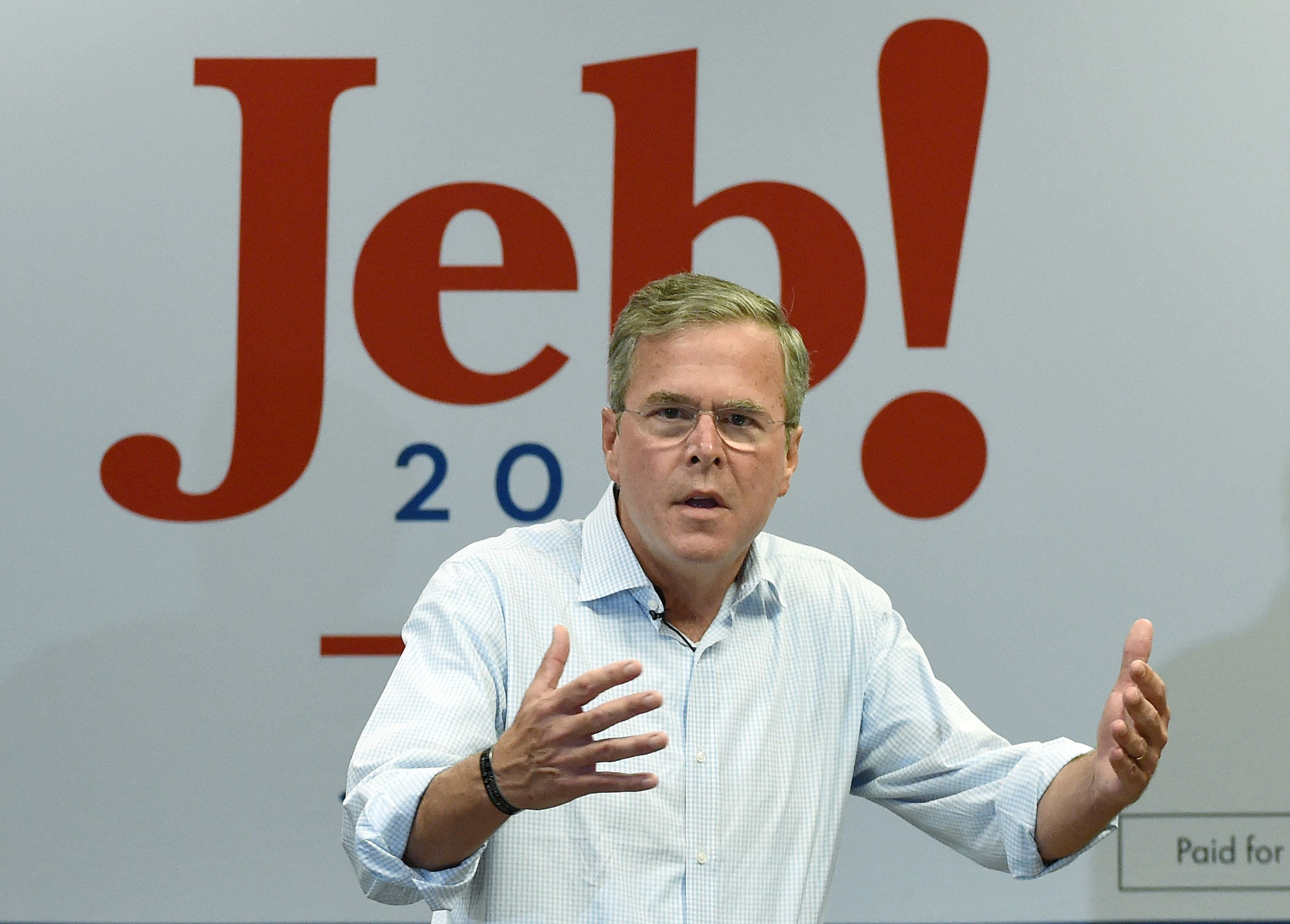 LAS VEGAS, NV - SEPTEMBER 17:  Republican presidential candidate Jeb Bush speaks during a campaign rally at the Veterans Memorial Leisure Services Center on September 17, 2015 in Las Vegas, Nevada. Bush is campaigning in Nevada after participating in the second Republican debate yesterday in California.  (Photo by Ethan Miller/Getty Images)