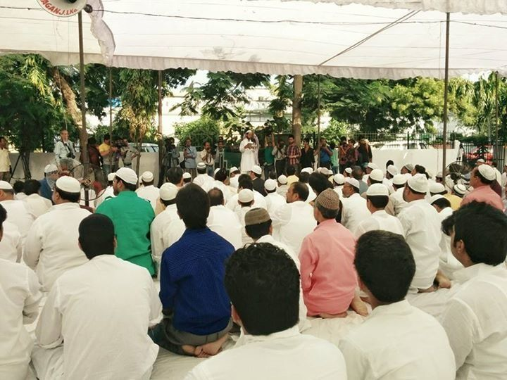 Sunni and Shia Muslims gathered together for combined prayers in Lucknow, India.