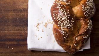 One home baked challah loaf for shabbat